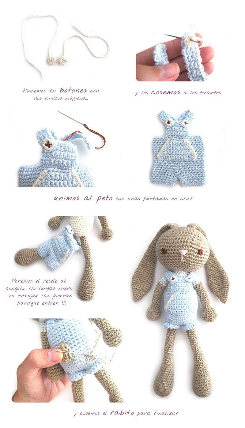 Como hacer un conejito amigurumi orejas largas en versión niño