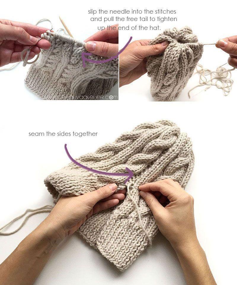 Wool Beanie with Fur Pom Pom [ FREE Knitting Pattern & Tutorial ]