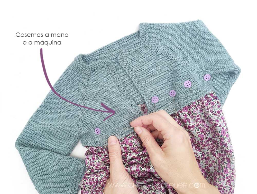 Cómo hacer un pelele de punto y tela combinado de bebé DIY - Tutorial y Patrón